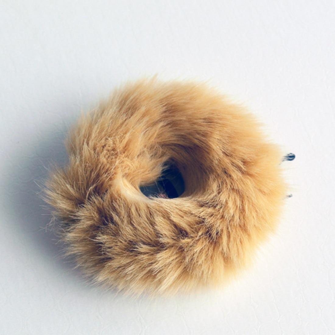 Новинка, настоящая меховая кроличья шерсть, мягкие эластичные резинки для волос для женщин и девочек, милые резинки для волос, резинка для хвоста, модные аксессуары для волос - Цвет: CAMEL