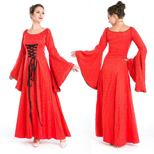 Cosplay Costumes Mythic Medieval Long Dress Women Court Princess Halloween  Costume Party Games Red Fancy Clothing W-571 2d0d1c8c9362