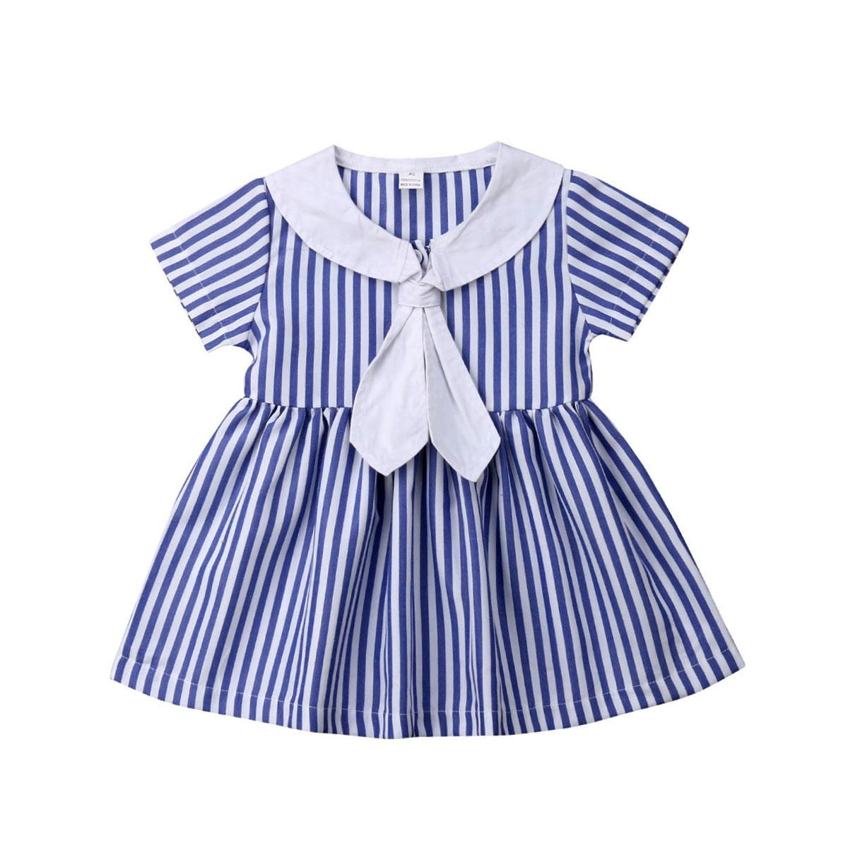 Одежда для маленьких девочек платье в полоску с короткими рукавами и галстуком вечерние сарафаны принцессы От 0 до 6 лет - Цвет: Синий
