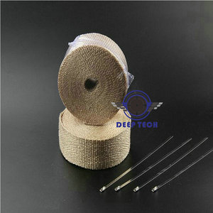 Image 2 - Beige Exhaust Muffler Pipe Header Heat Resistant Exhaust Wrap 10m x 2inch With Cable Ties