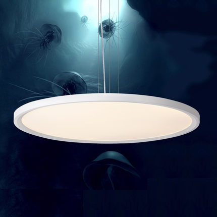 Creative Circle Acrylic Droplight Modern LED Pendant Light Fixtures For Study Dining Room Simple Hanging Lamp Home Lighting 40cm acrylic round hanging modern led pendant light lamp for dining living room lighting lustres de sala teto