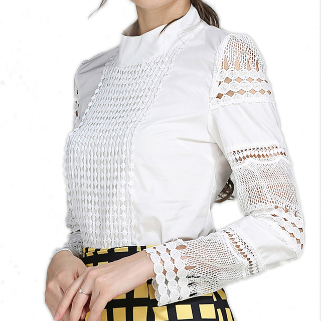 2019 Lace Chiffon Blouse Women Shirt Plus Size Casual ladies long sleeve Womens Tops and Blouses S-5XL Hook Flower Hollow 4