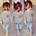 2017 child suit baby girls autumn clothes set long sleeve stripe t-shirt + pants 2 pcs baby clothes retail YAZ089