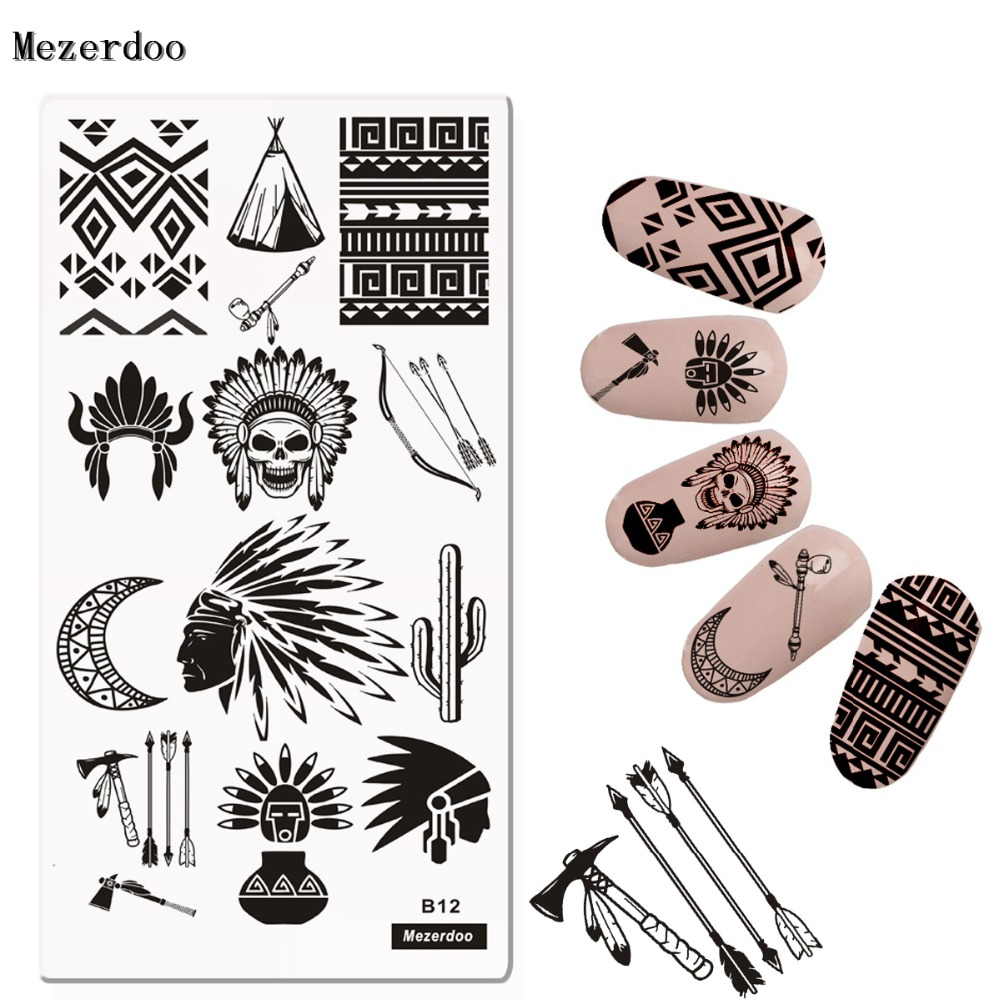 Indian style Nagelscheibe Nail Art Bild Platte Stamping Schablone - Nagel Kunst