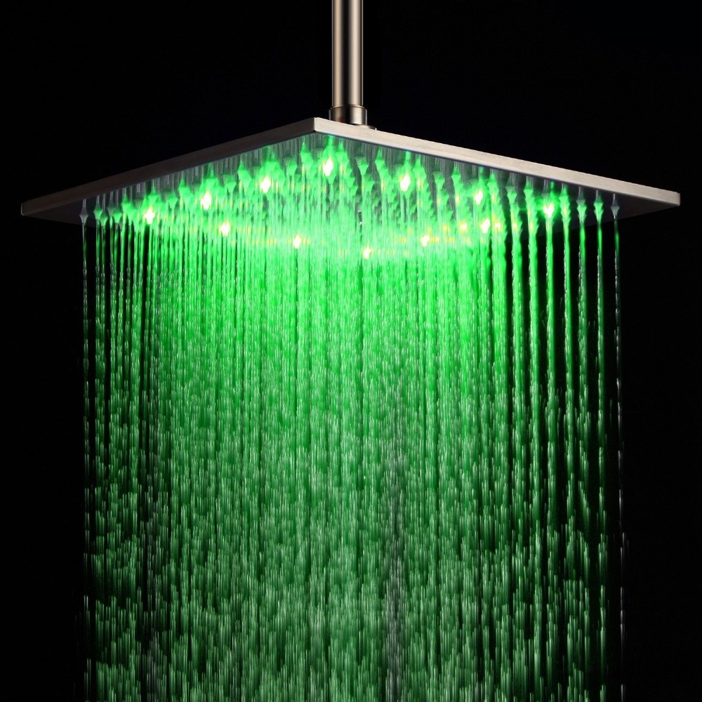Free shipping 12\'\' LED Stainless Steel Bath Ceiling Rain Shower Head ...