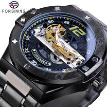 Forsining Classic Bridge Mechanical Watch Men Black Automatic Transparent Gear Full Steel Band Racing Male Sport Watches Relogio(China)
