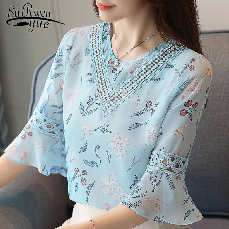 2019 fashion print chiffon   blouse   women   shirt   flare sleeve summer women tops hollow chiffon women   blouses     shirts   blusas 0278 40