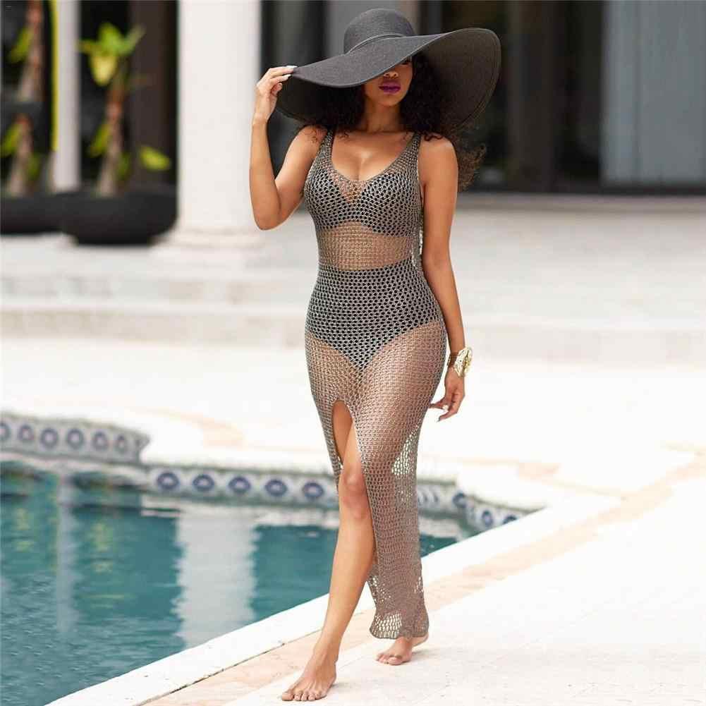 Ażurowe długa spódnica bluzka strój kąpielowy kurtka ponad Hip Hollow Sexy okrycie plażowe czarny i szary kolor S M L XL 2XL bikini Set