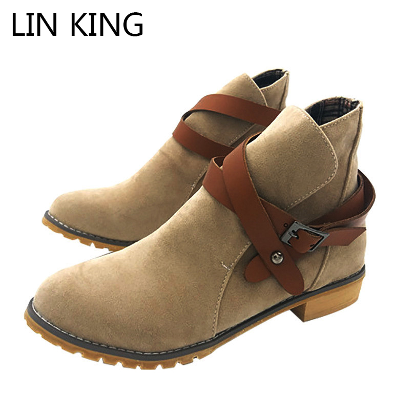 все цены на  LIN KING Winter Thermal Boots Women High Top Lady Shoes Warm Plush Cotton Short Boots Fashion Ankle Shoes Retro Martin Boots  в интернете