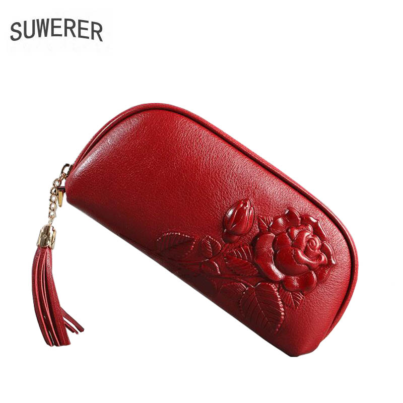 Women bag brand 2018 new women genuine leather bags Fashion color rose embossed Flowers clutch bag women leather clutch bag