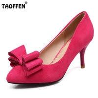 TAOFFEN 크기 32-43 여성 높은 뒤꿈치 신발 여성의 펌프 사무실 숙녀 패션 섹시한 큰 활 웨딩 파티 신발 하이힐 신발