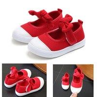 Kids Flat shoes Girls Shoes canvas Big Bow Tie Princess Shoes Baby Girls  Dance Shoes c8ce1b905594