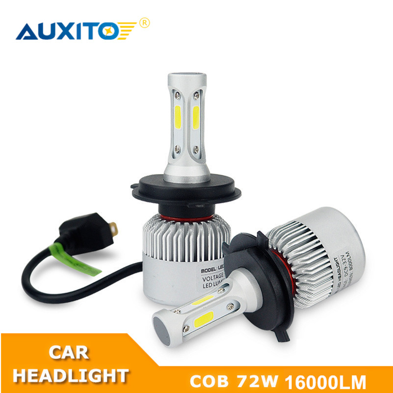 AUXITO 9003 H4 For Toyota Yaris 2006-2017 Car LED Headlight Bulb COB Chips Automobile 72W 6500K 16000LM High Low Beam 12V auxito h7 h4 9003 9005 9006 h11 car cob led headlights for toyota corolla avensis yaris rav4 auris hilux prius camry supra verso