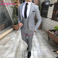 Linyixun Gray Men Suits for Groom Tuxedos Three Piece Jacket Pants Vest Wedding Evening Party Man Suit Tailor Made