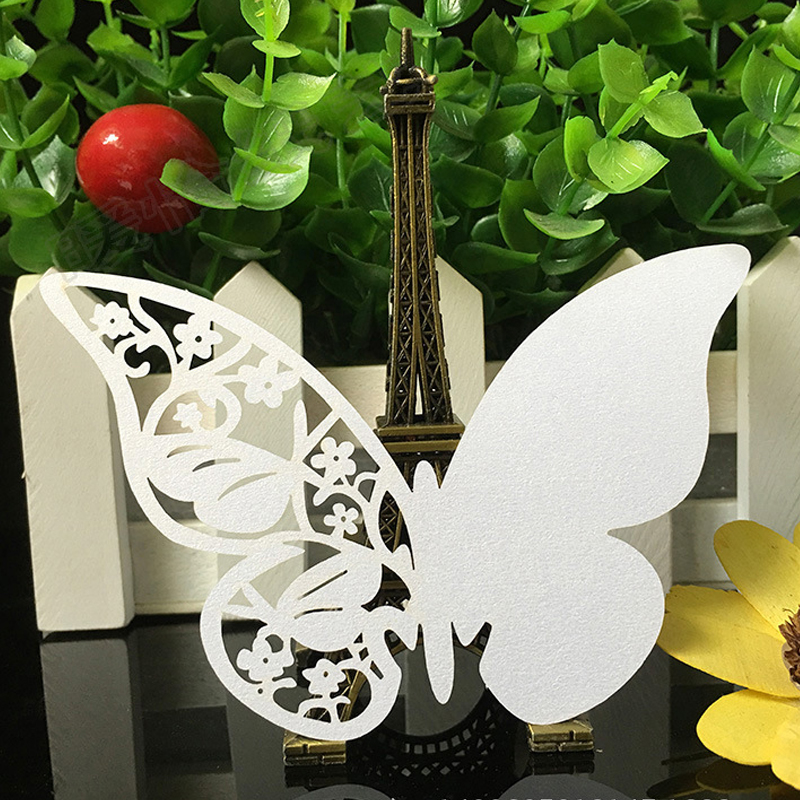 10 Color 50pcs Laser Cut Hollow Butterfly Place Cards Wedding Escort Wine Glass Cup Table Name Cards Wedding Party Supplies