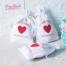 50 pcs הנגאובר ערכת חתונה מזכרות מחזיק תיק 9x14 cm לב כותנה מתנה עזרה ראשונה מתנת תיק המפלגה טובות לחופשה יד עשה