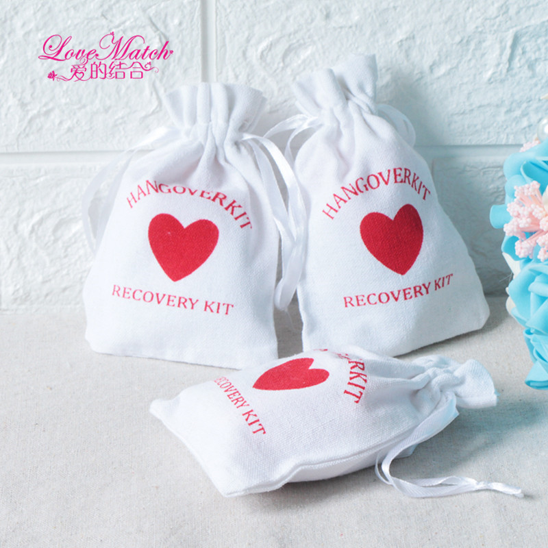 50pcs Hangover Kit Wedding Souvenirs Holder Bag 9x14cm Heart Cotton Gift First Aid Gift Bag Party Favors For A Holiday Hand Made