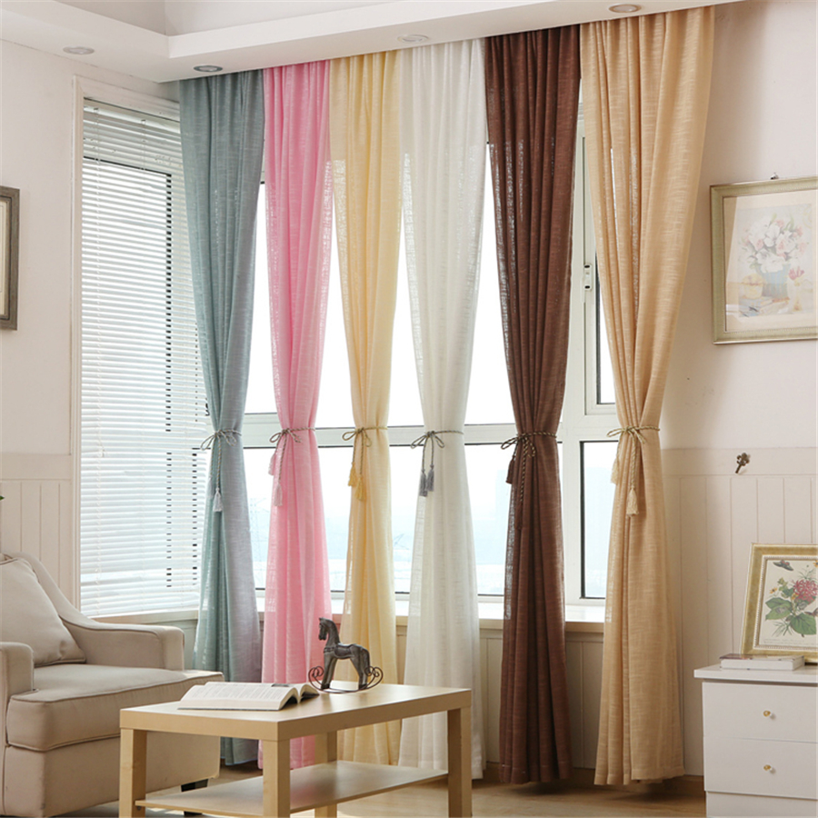 Cafe curtains for living room - Multicolor Thicken Linen Curtains Cheap Custom Win