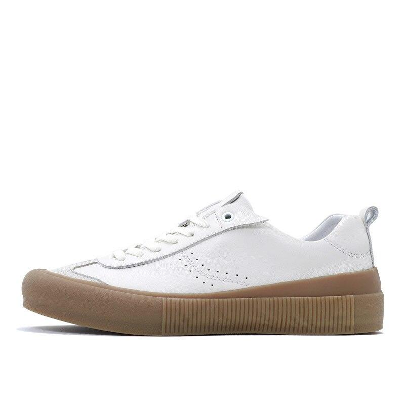Genuína Homens 1 Primavera Marca De Apartamentos Pé Do Dedo Casuais Sapatos Confortáveis 2 Branca Homme Couro 2019 Luxo Redondo Costura Sneakers Da 5wBRBXq