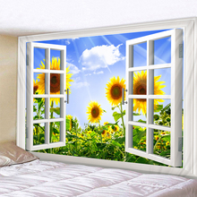 Sunflower Outside The Window Printed Tapestry Cheap Hippie Wall Hanging Bohemian Wall Tapestries Mandala Wall Art Decor