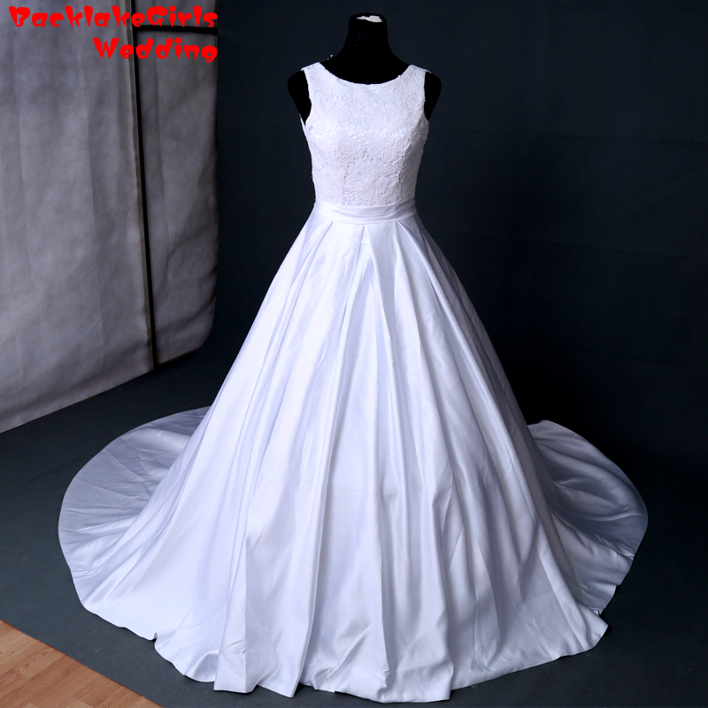 Ruching Wedding Gowns: Real Picture Custom Made Strapless Neck Wedding Dresses