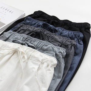 Image 5 - 2020 אביב קיץ כותנה פשתן הרמון מכנסיים נשים שרוך גבוהה מותניים מכנסיים נשים מכנסי קזואל טרנינג Pantalon C4216
