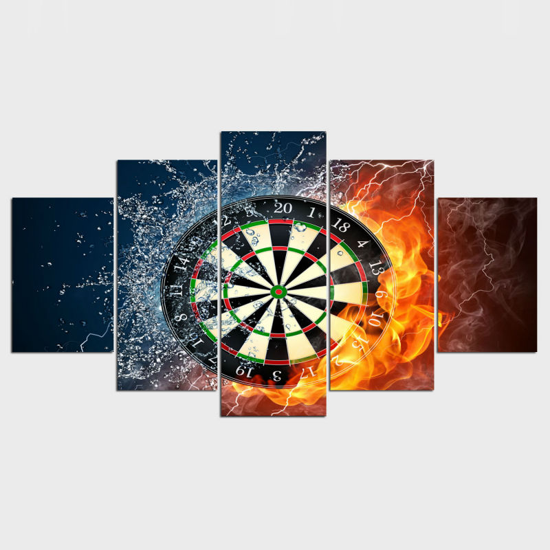 Real Fallout 5 Piece Darts Wheel Target Fire Water Home Wall Decor Picture Print On Canvas Painting Set of Each Unframed IM-70