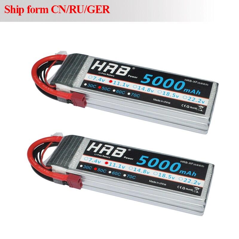 2 pièces HRB FPV 450 500 AKKU 11.1 V 5000 mAh 50C RC Lipo 3 S batterie MAX 100C Drone Bateria AKKU pour RC hélicoptères avion voiture bateau