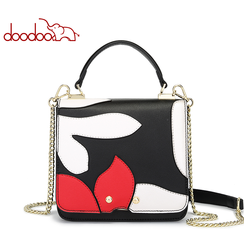 DOODOO Leather Crossbody Messenger Bag Famous Brand High Quality Flap Women Handbag Patchwork Luxury Fashion Shoulder Bags Girls jasmin noir famous brand women messenger bag high quanlity fashion crossbody bag designer handbag smiley women s shoulder bags