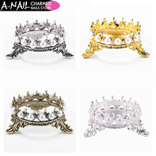 1 pc 4 Colors Elegant Metal Crown Pearl Stand Design Nail Art Pen Brushes Holder Rack Manicure Makeup Table Tools(China)
