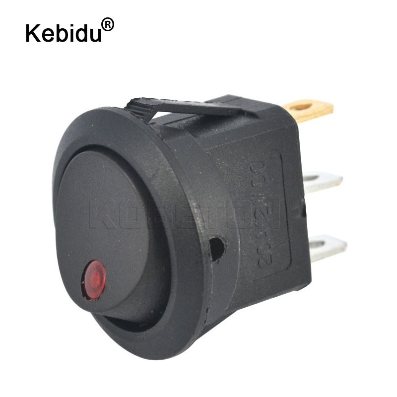 kebidu 12V SPST Switch LED Practical Dot Light Car Boat Round Rocker ON/OFF AC 6A/125V 3A/250V 4 Colors Push Button Switches