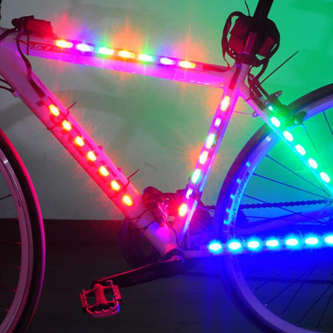 Battery Bicycle Light LED Bike Lamp Safety Spoke Light Strip Tape Light Bike Frame Decorative Lantern Bike Accessories Cycling yy 601a 7led cycling bicycle hot wheels spoke decorative lamp 9 change pattern