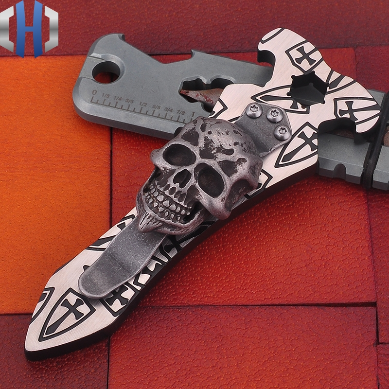 Titanium Steel Fire Screwdriver Opener With EDC Outdoor Gadgets Skull Shield Key Chain Mens Gift Tools