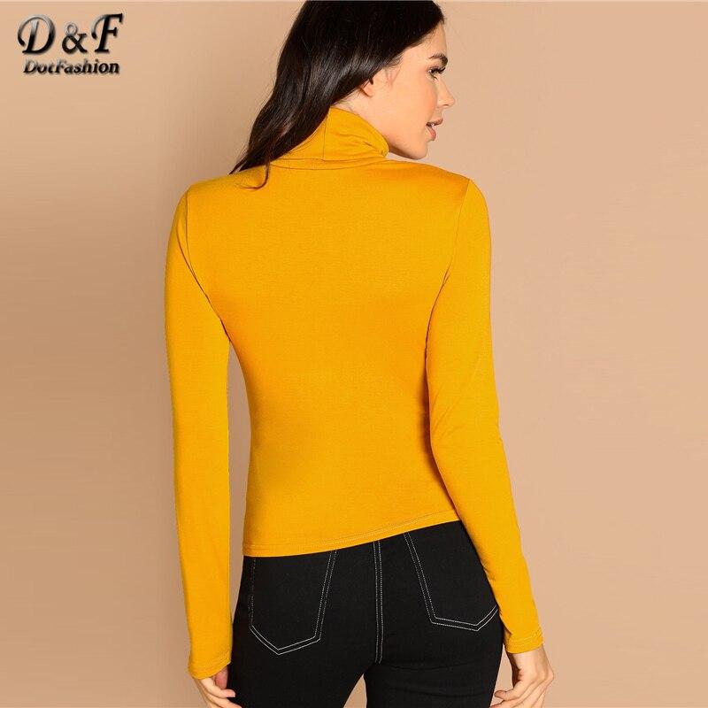 eb2d05e49358 Dotfashion Mustard Turtleneck Slim Fit T-Shirt Long Sleeve Tee Shirt Women  Clothes 2019 Autumn Casual Womens Elegant Plain Tops