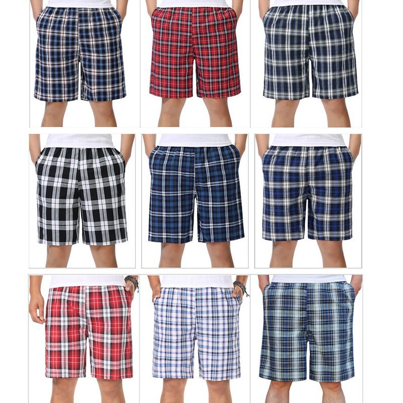 2019 Summer Men's Linen Casual Shorts Classic Plaid Striped Linen Cotton Shorts Casual Beach Shorts For Bussiness Plus Size