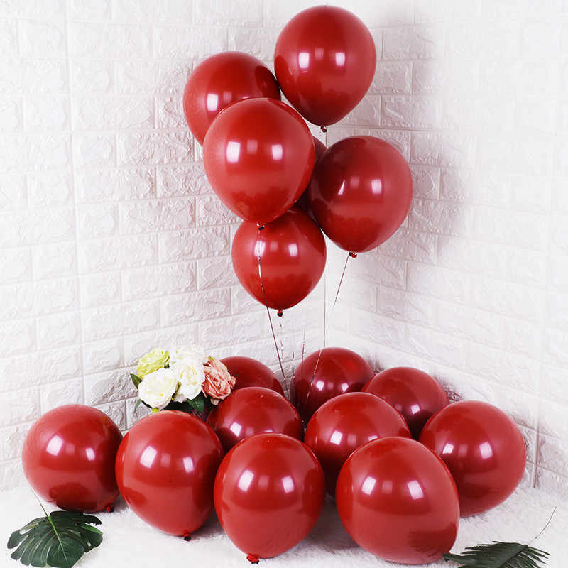 Kuchang 10PCS 20PCS 50PCS 5inch 12inch Ruby Red Glossy Metal Pearl Latex Balloons Chrome Metallic Color Wedding Party Decor