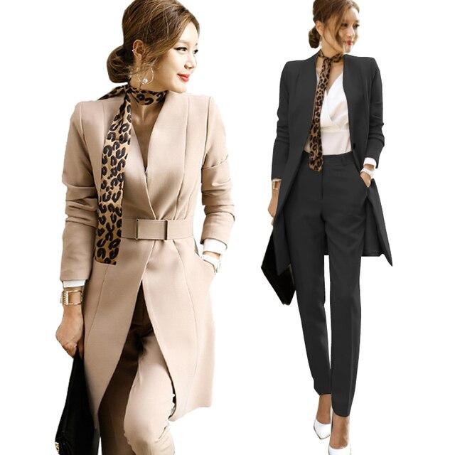 Europa e nos Estados Unidos no inverno OL novo profissional das mulheres long Slim suit jacket two-piece (calça + casaco)