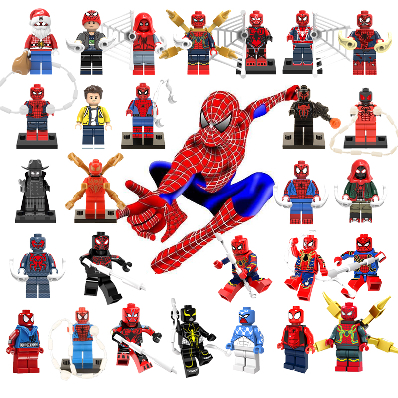 For Legoelys Spiderman Super Heroes Thor Iron Man Loki Deadpool Batman Avengers 4 Captain Marvel Building Blocks Toys Figure
