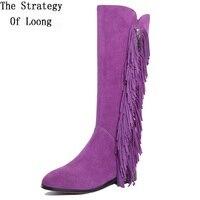 Women Winter Genuine Leather Low Heels Fringe Long Boots 2016 New Arrival Fashion Hot Sale Lady