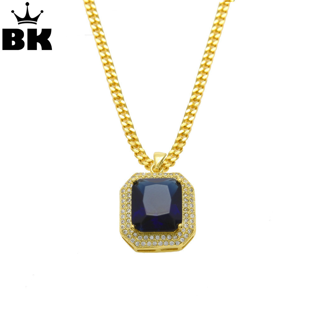 Hip Hop Mens Gold Color Rhinestone Red Black Necklace Hip Hop Pendant with 3mm*24inch Cuban Chain Men/Women Necklace