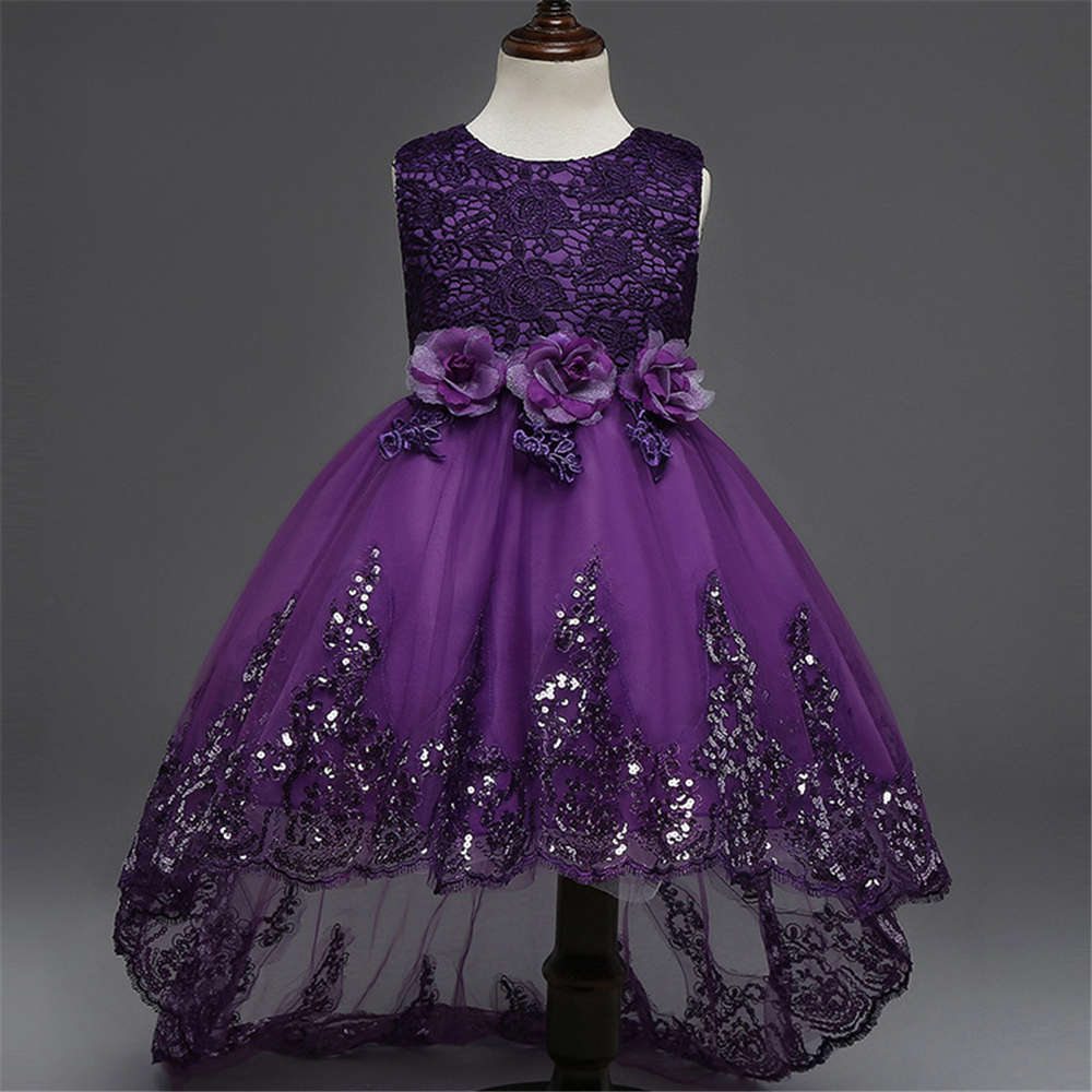 New Design Formal Girls Flowers Lace Sequins Princess Dresses for Children Wedding Bridesmaids Costume Kids Party Prom Dress Hot