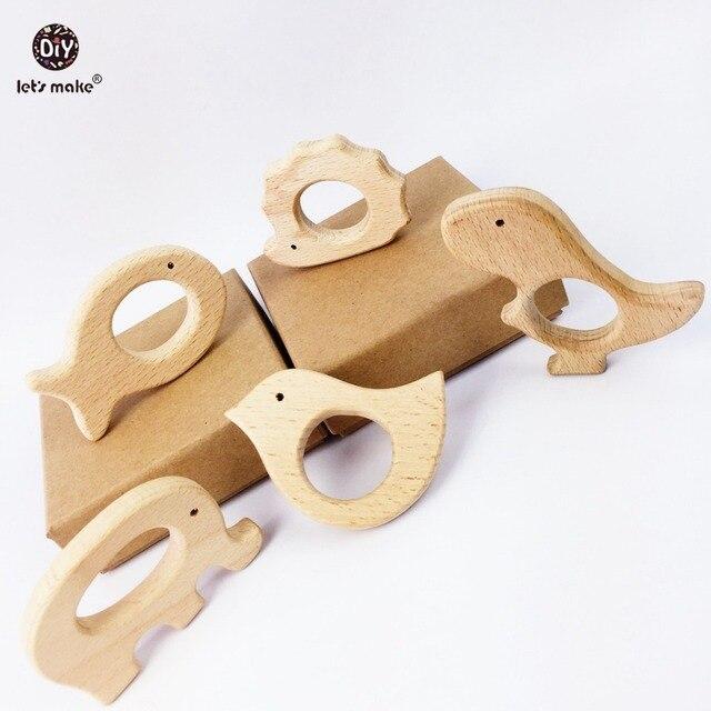 دعونا نصنع الطفل عضاضة الطبيعية شكل خشبي الحيوانات لعبة عضّاضة للأسنان 20 قطعة لم تنته الحيوان الخرز الطفل آمنة الحسية استيعاب لعبة