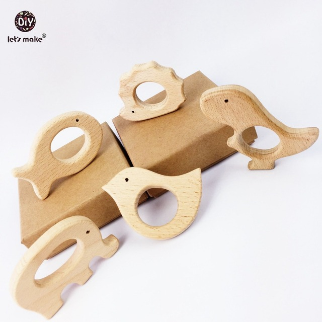 Lets Make Baby Teether Natural Wooden Shape Animals Teether Toy 20PC Unfinished Animal Beads Baby Safe Sensory Grasping Toy