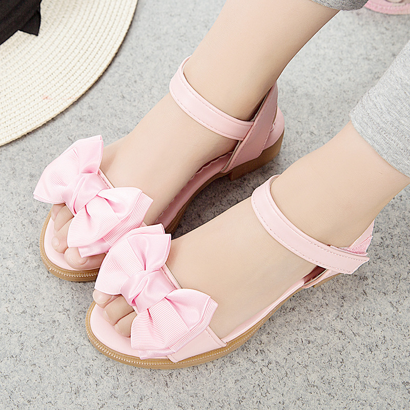 Childrens Spring And Summer New Bows Little High Heels Girls Soft Sole Sandals Slippers Girl Eur 26 - 34 #2
