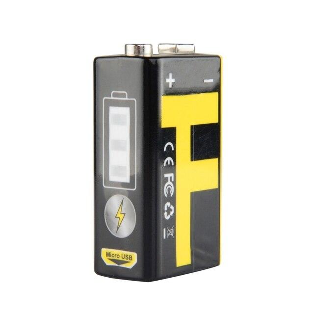 1 chargeur dusb de batterie au Lithium Rechargeable de 9V 550mAh pour le Microphone de multimètre