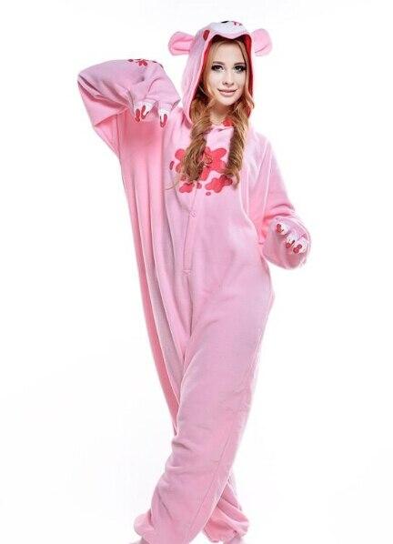 Сладкий Розовый Медведь Kigurumi Пижама для Животных Костюмы Косплей  Хэллоуин Костюм Для Взрослых Одежды Мультфильм Комбинезоны Для Взрослых  Животных Пижамы ... d1e7314bc6cce