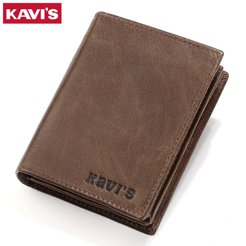 KAVIS 2017 New Genuine Leather Men Wallets High Quality Vintage Cow Skin Short Purse Luxury Famous Brand Mens Bifold Wallet  grille