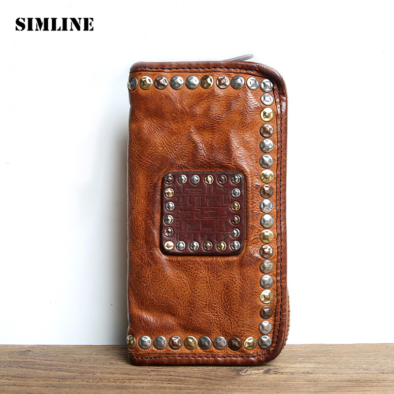Luxury Brand Vintage Handmade Genuine Vegetable Tanned Cow Leather Men Women Long Zipper Wallet Purse Wallets Clutch Bag For Man brand design men luxury individuality vintage long wallet skull style genuine cow leather purse men s clutch handy phone bags