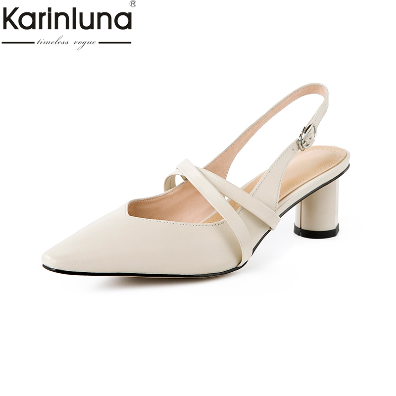 KarinLuna Genuine Leather Pointed Toe Elegant Office Lady Mature womens Shoes 2019 Brand New womens PumpsKarinLuna Genuine Leather Pointed Toe Elegant Office Lady Mature womens Shoes 2019 Brand New womens Pumps