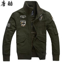 German army uniform air force pilot thin jacket 2018 new brand men's size code loose cotton jacket European and American militar